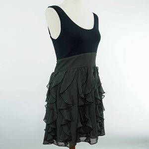 Express Black Green Chiffon Shift Dress Size 6